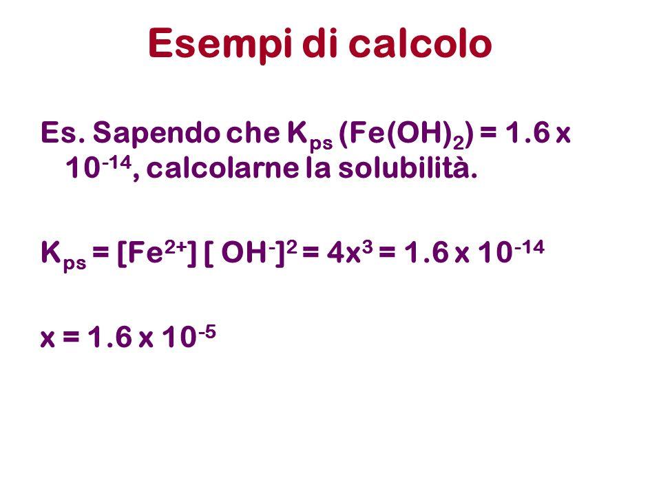 Esempi di calcolo Es. Sapendo che Kps (Fe(OH)2) = 1.6 x 10-14, calcolarne la solubilità. Kps = [Fe2+] [ OH-]2 = 4x3 = 1.6 x 10-14.